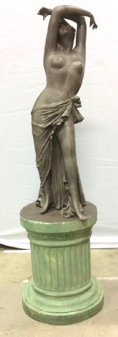 Antique Metal Garden Statue Nude Female Figure Antique