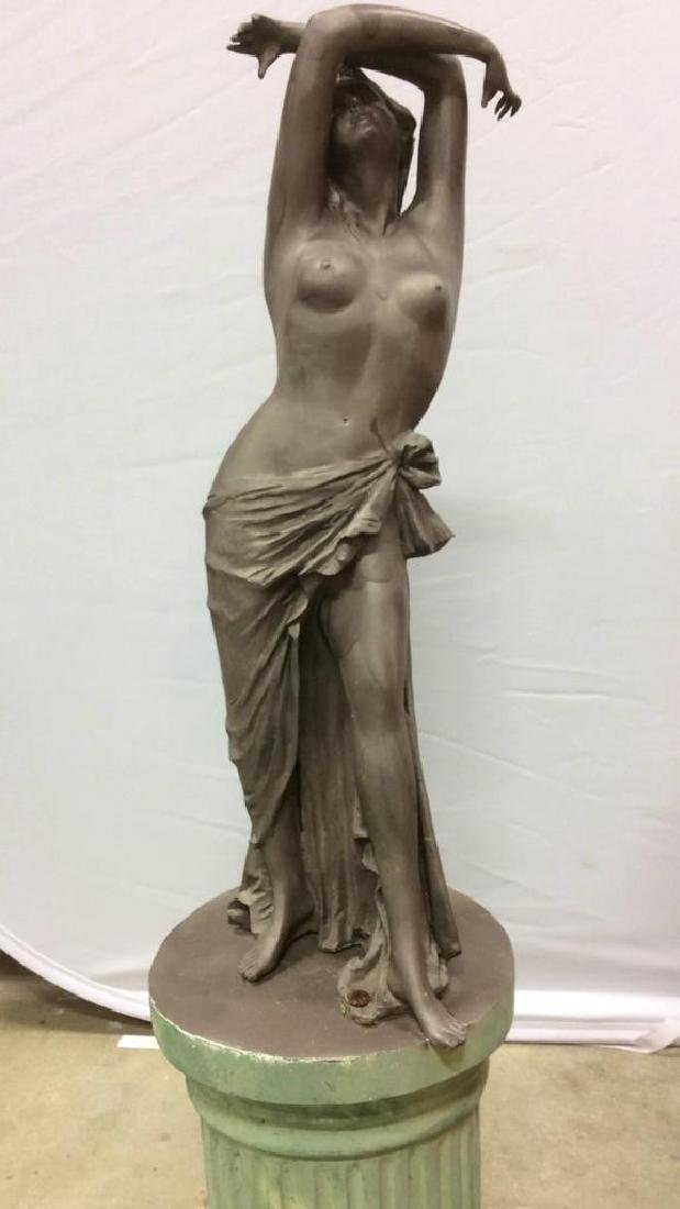Antique Metal Garden Statue Nude Female Figure Antique - 2