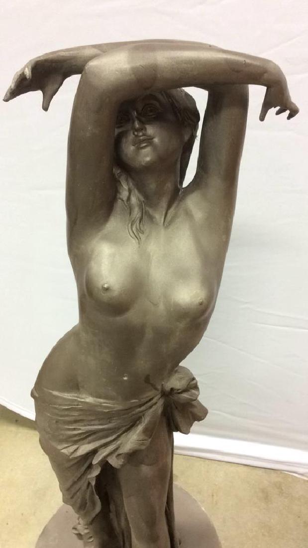 Antique Metal Garden Statue Nude Female Figure Antique - 3