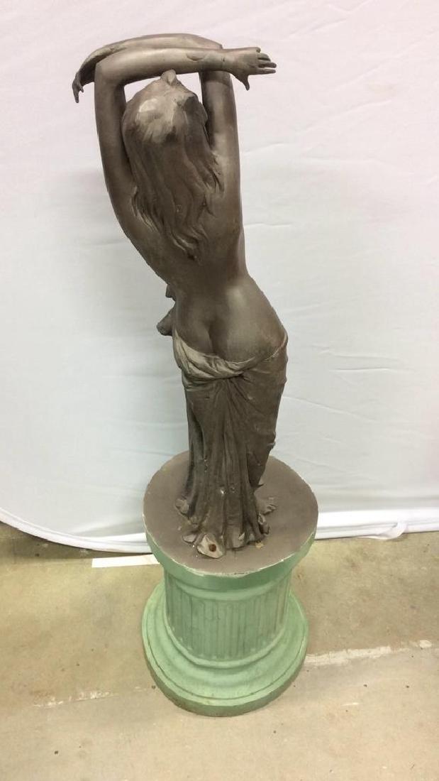 Antique Metal Garden Statue Nude Female Figure Antique - 5