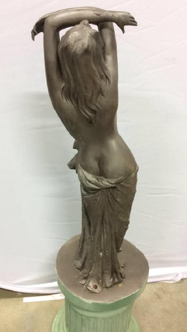 Antique Metal Garden Statue Nude Female Figure Antique - 7
