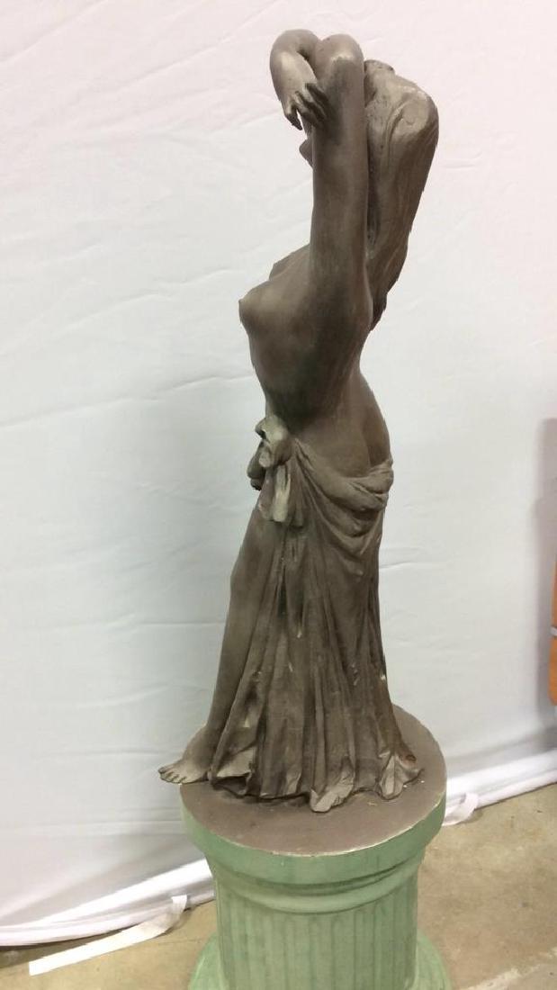 Antique Metal Garden Statue Nude Female Figure Antique - 8