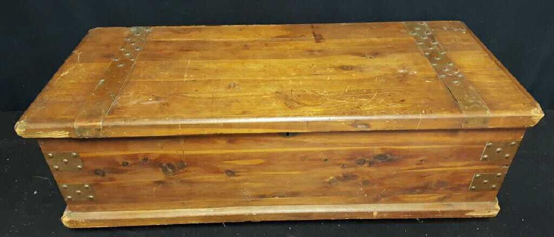 Antique Wood Lidded StorageChest Antique Wood Chest,