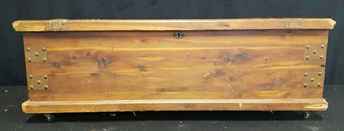 Antique Wood Lidded StorageChest Antique Wood Chest, - 2