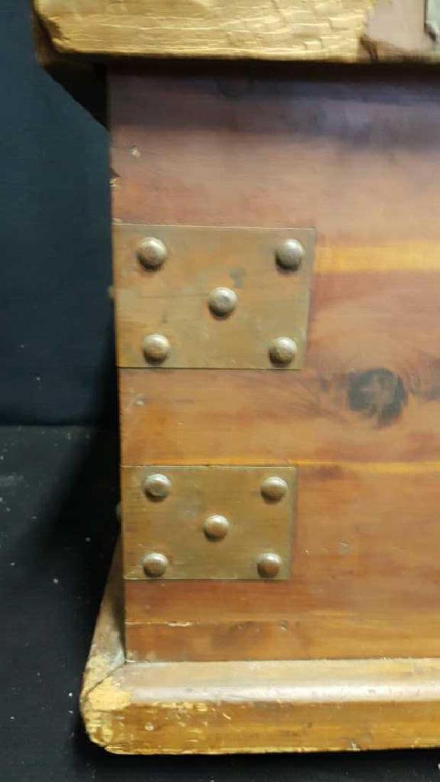 Antique Wood Lidded StorageChest Antique Wood Chest, - 3