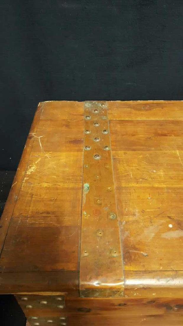 Antique Wood Lidded StorageChest Antique Wood Chest, - 4