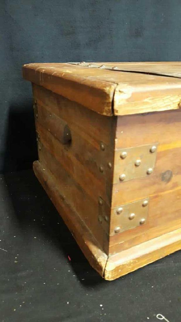 Antique Wood Lidded StorageChest Antique Wood Chest, - 5