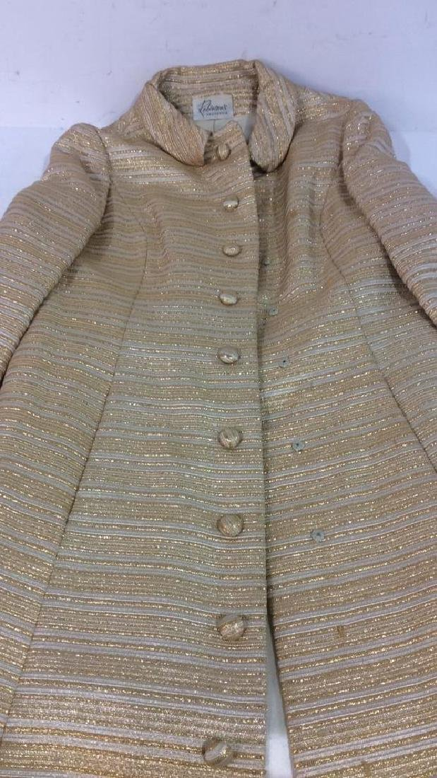 Vintage Ladies Gold Dress w Coat Labeled for Robinson's - 10