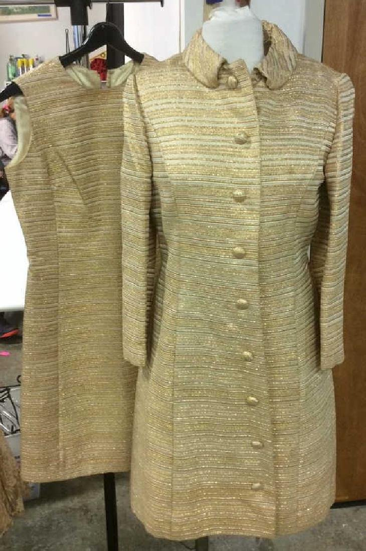 Vintage Ladies Gold Dress w Coat Labeled for Robinson's