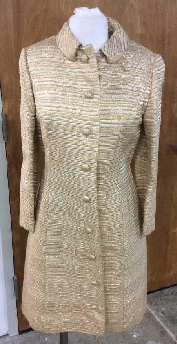 Vintage Ladies Gold Dress w Coat Labeled for Robinson's - 2