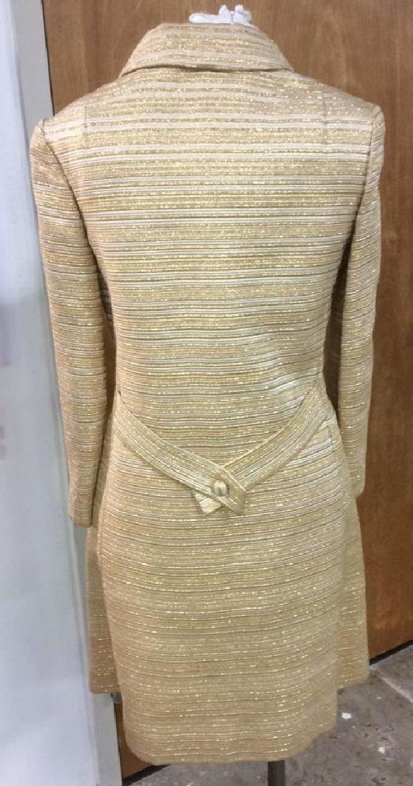 Vintage Ladies Gold Dress w Coat Labeled for Robinson's - 4