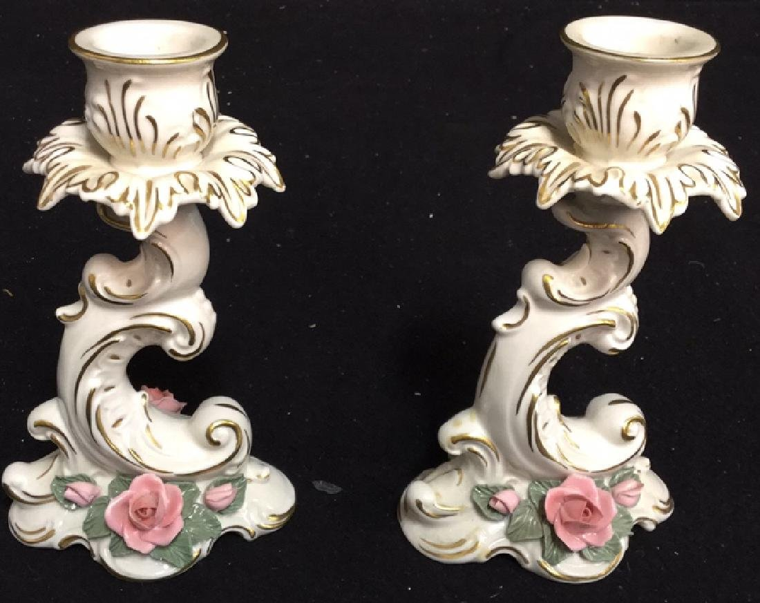 Pair of Alka Porcelain Candlestick Holders & More 2 - 2