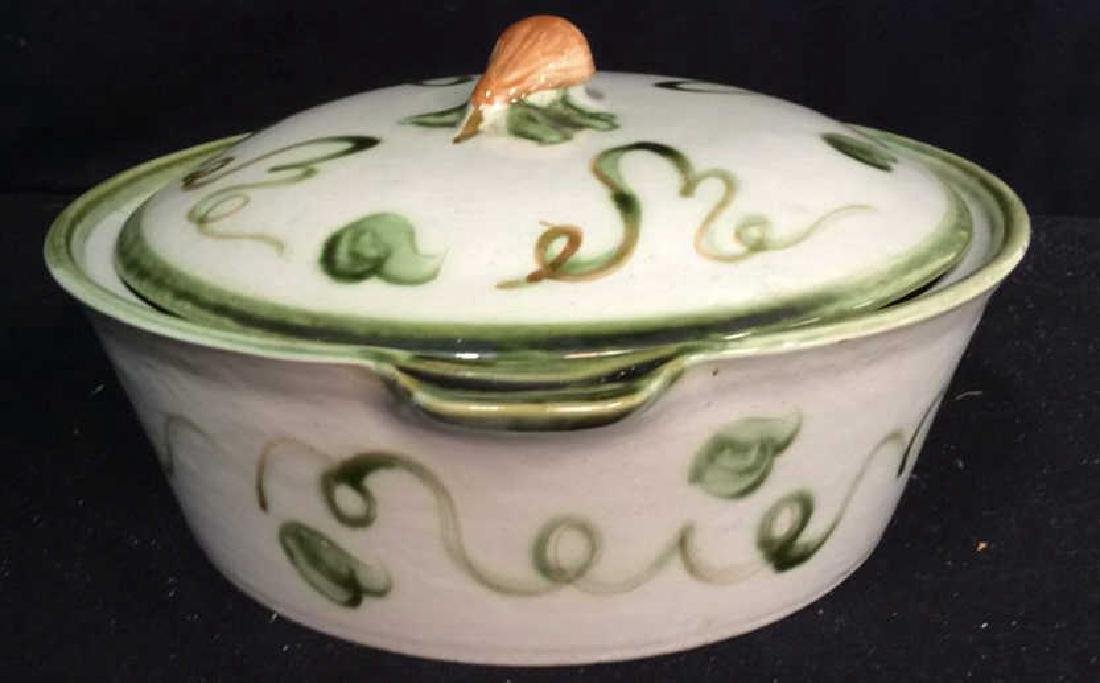 Centerpiece Hand painted Signed Ceramic Bowl Hand - 5