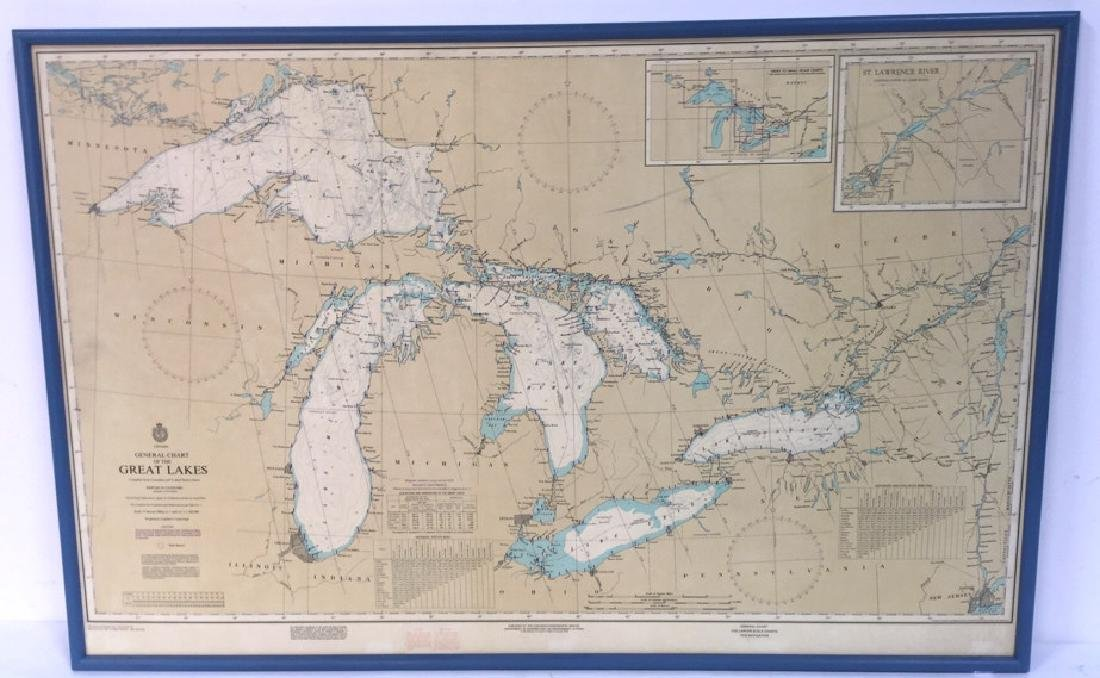 Framed Map Of The Great Lakes General Chart Of The