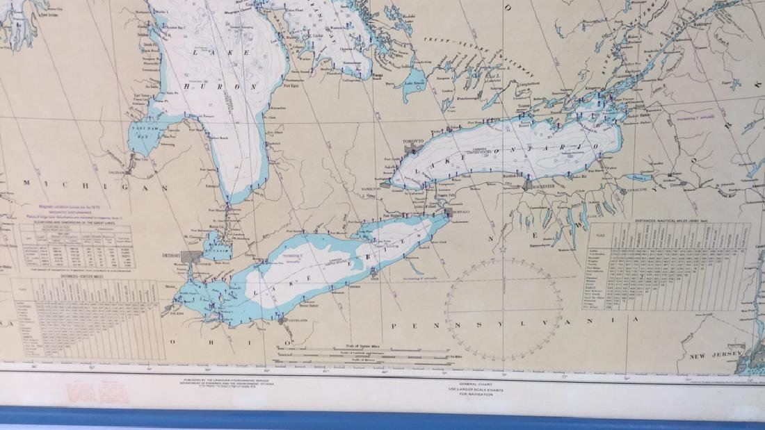 Framed Map Of The Great Lakes General Chart Of The - 3