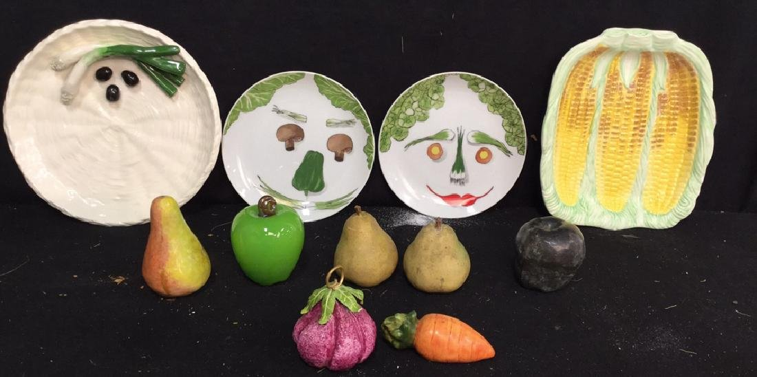Group Lot  Assorted Ceramic Tabletop Items Fruit and