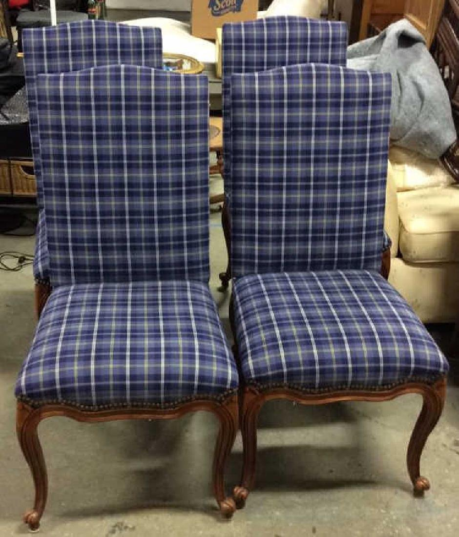 Set 4 Upholstered French Side Chairs Set 4 Blue plaid