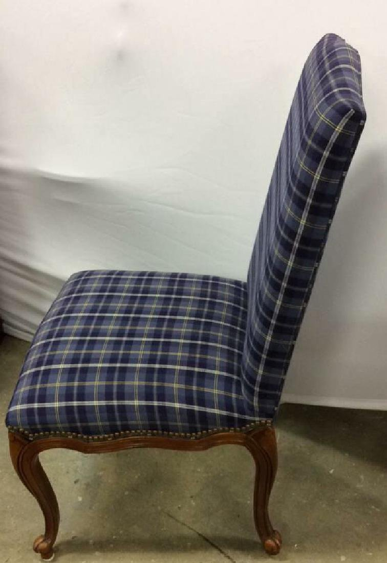 Set 4 Upholstered French Side Chairs Set 4 Blue plaid - 3