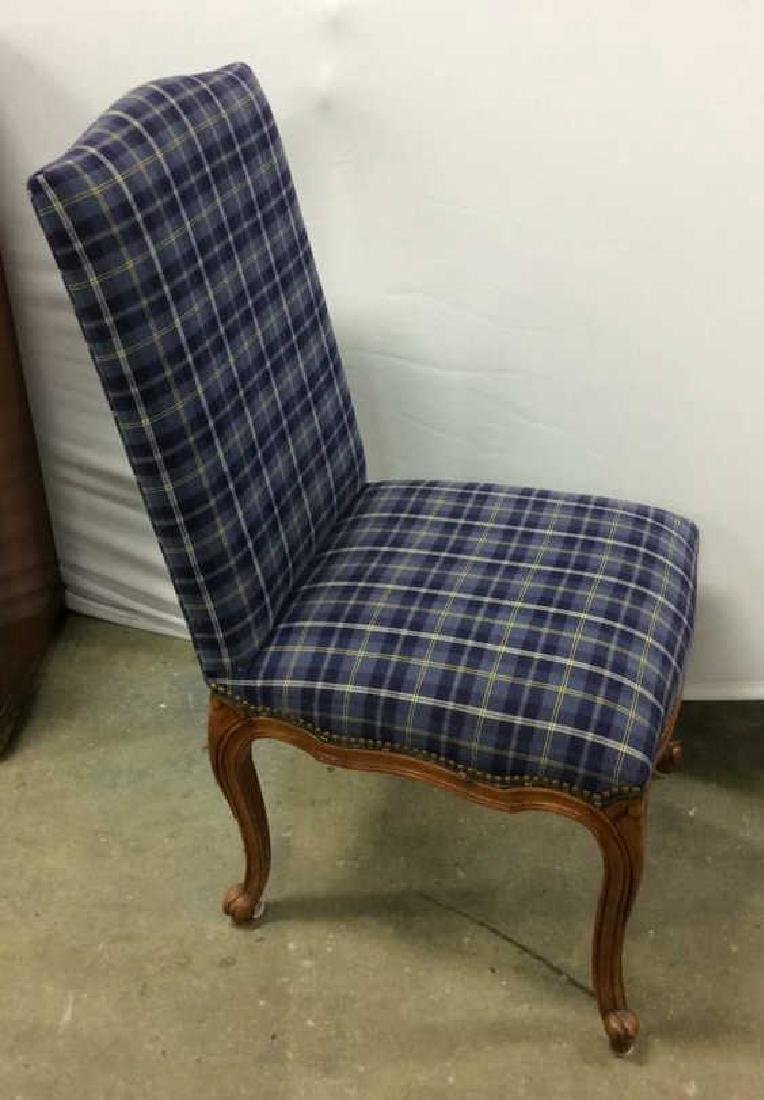 Set 4 Upholstered French Side Chairs Set 4 Blue plaid - 5