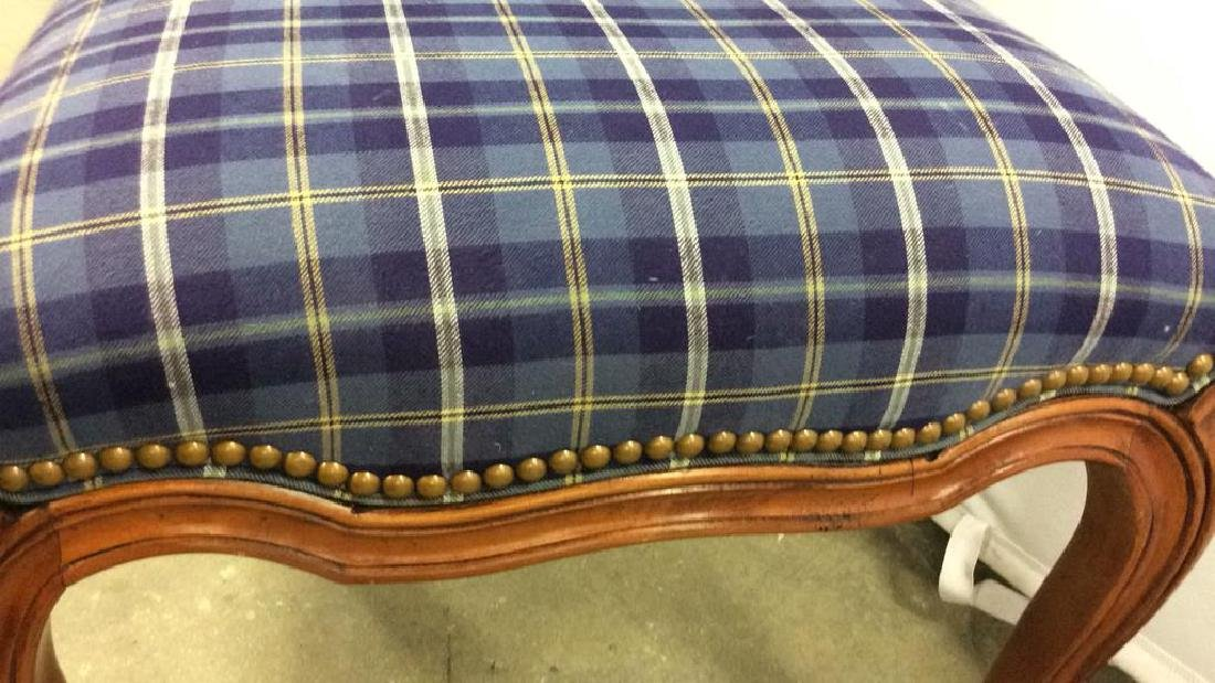 Set 4 Upholstered French Side Chairs Set 4 Blue plaid - 7