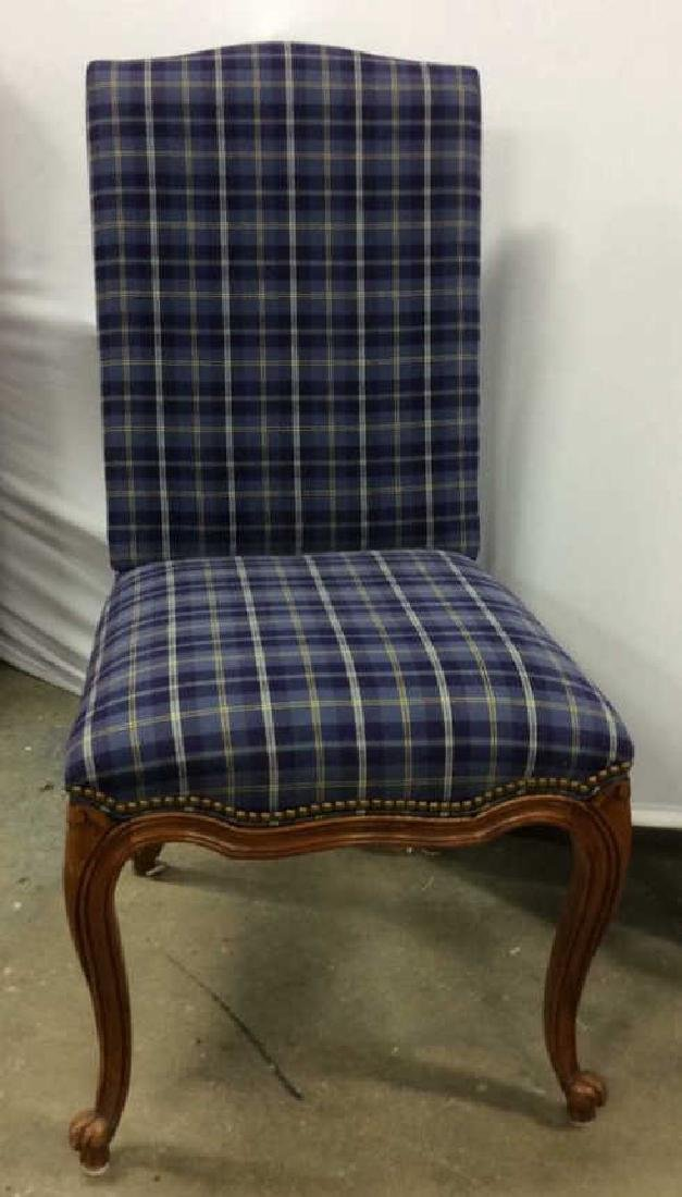 Set 4 Upholstered French Side Chairs Set 4 Blue plaid - 8