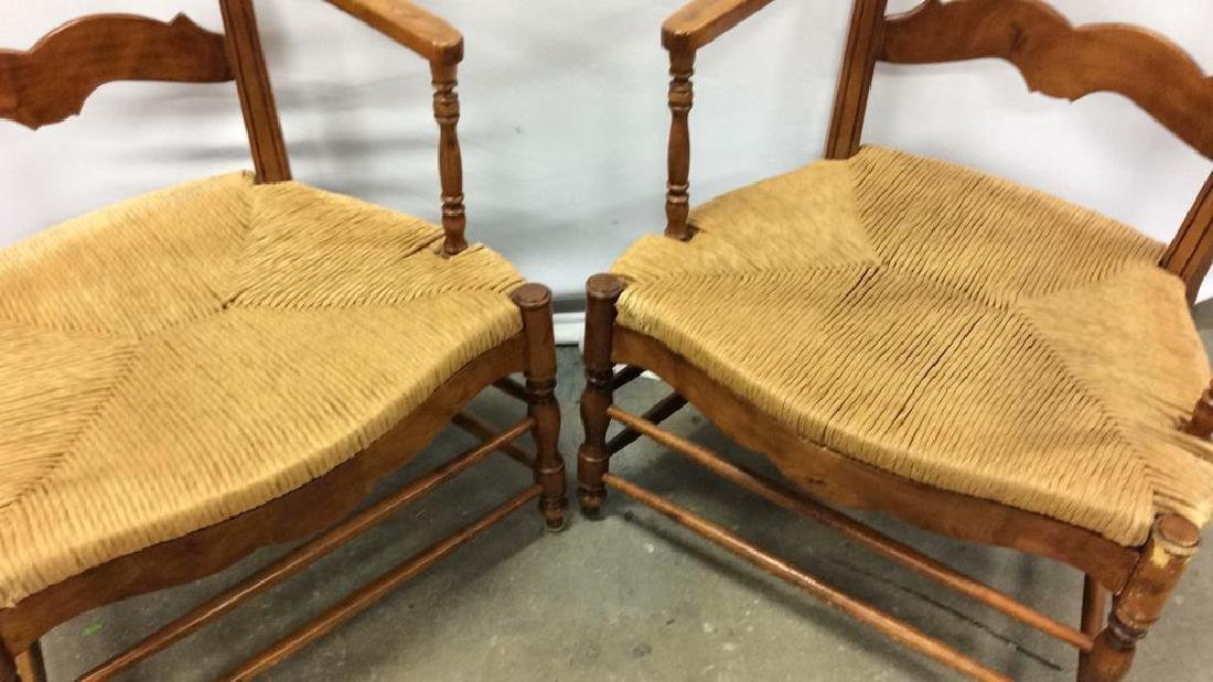 Pair Antique French Style Open Wood Wing Chairs Pair of - 7