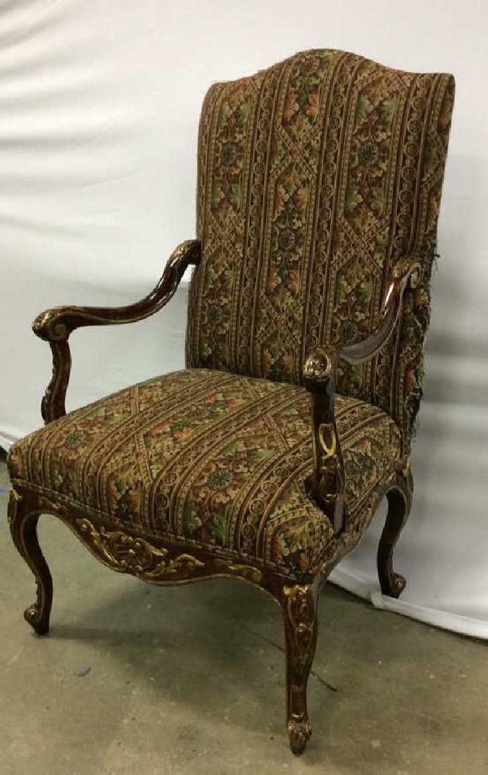 Painted Wood  Louis XV Style Bergere Armchair Carved