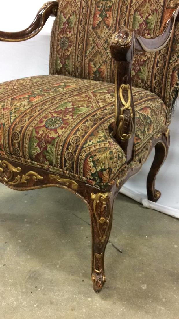 Painted Wood  Louis XV Style Bergere Armchair Carved - 2