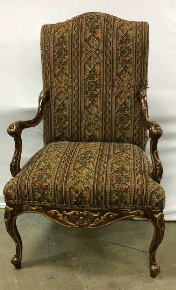 Painted Wood  Louis XV Style Bergere Armchair Carved - 3