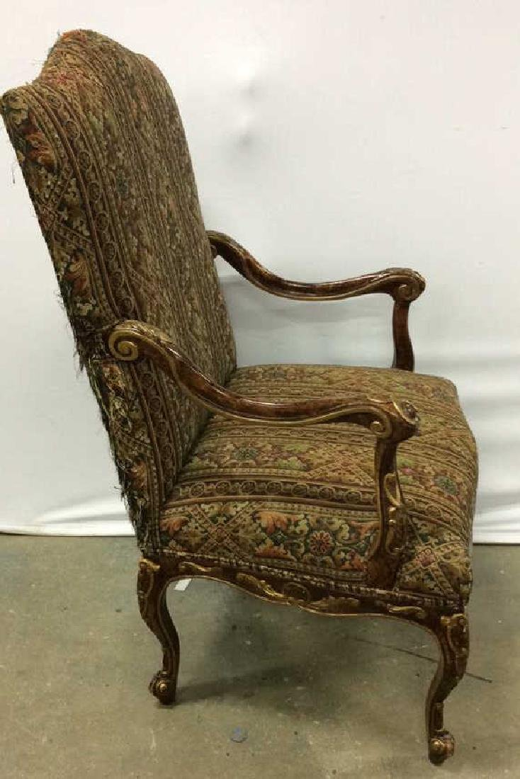 Painted Wood  Louis XV Style Bergere Armchair Carved - 4