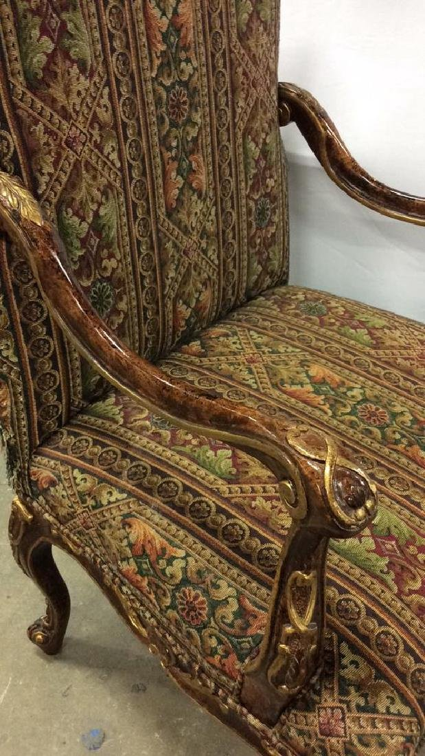 Painted Wood  Louis XV Style Bergere Armchair Carved - 5