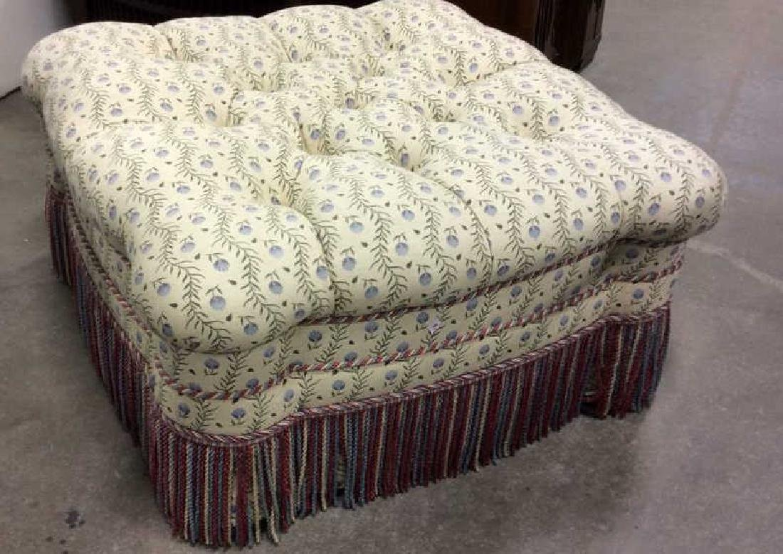 Tufted Upholstered Fringed Ottoman Oversized Ottoman
