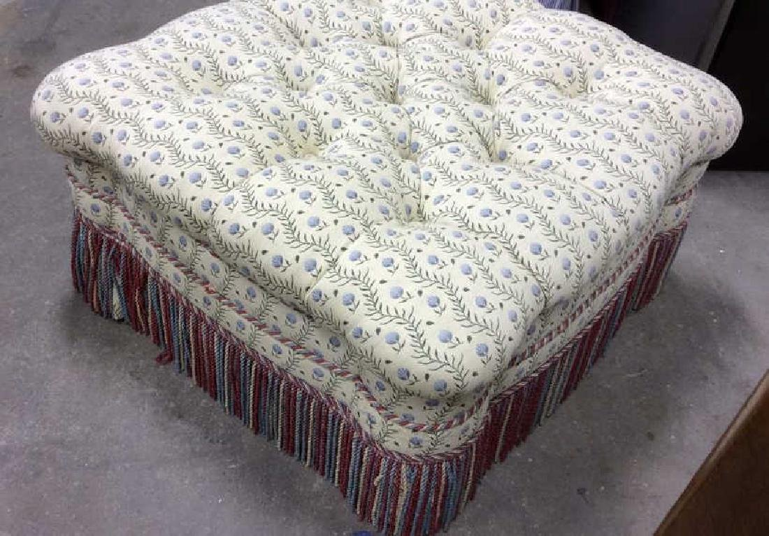 Tufted Upholstered Fringed Ottoman Oversized Ottoman - 5