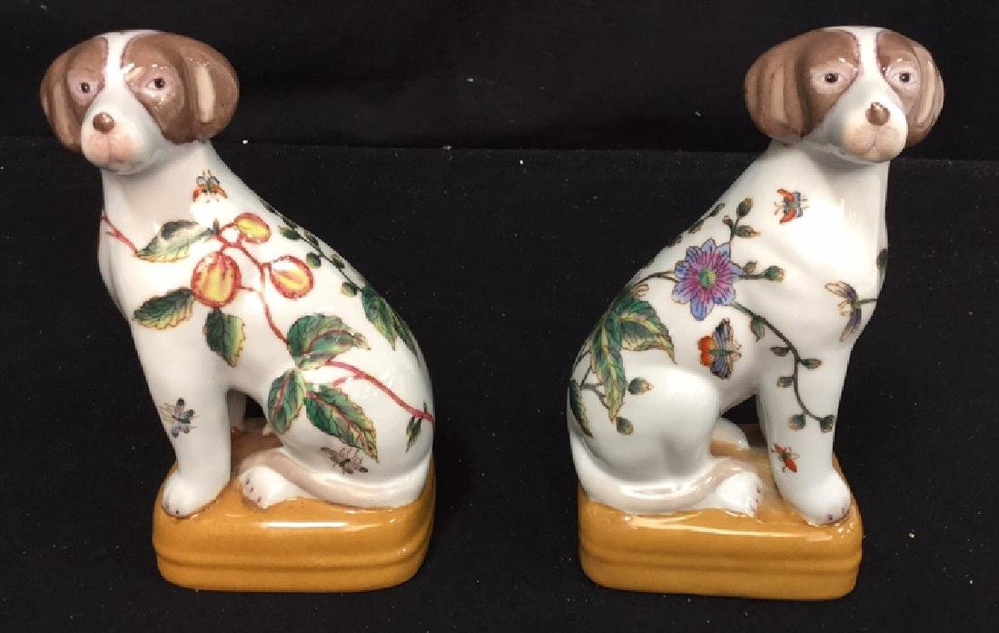 Pair Of Handpainted Porcelain Dog Statues 2 handpainted