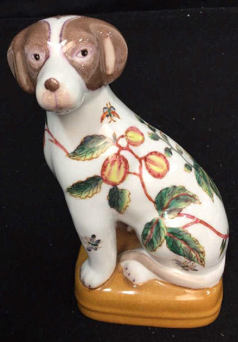 Pair Of Handpainted Porcelain Dog Statues 2 handpainted - 2