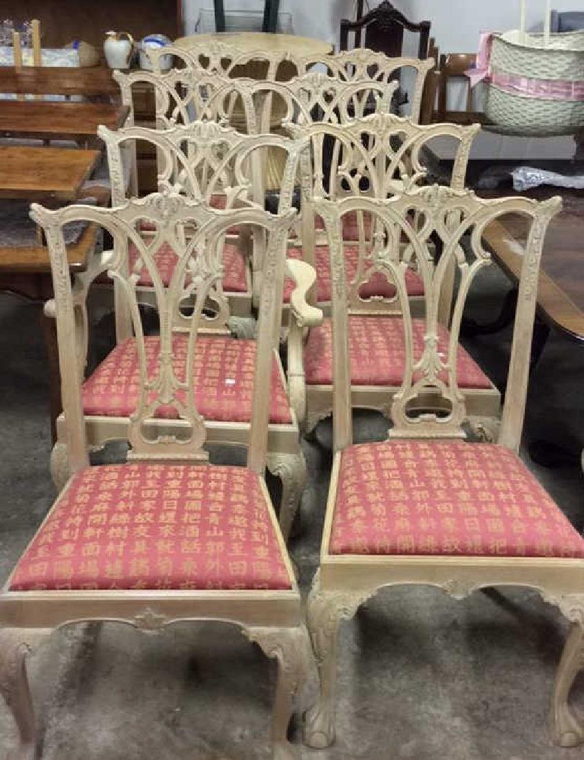 Set 8 Pickled Wood Chippendale Style Dining Chairs Set