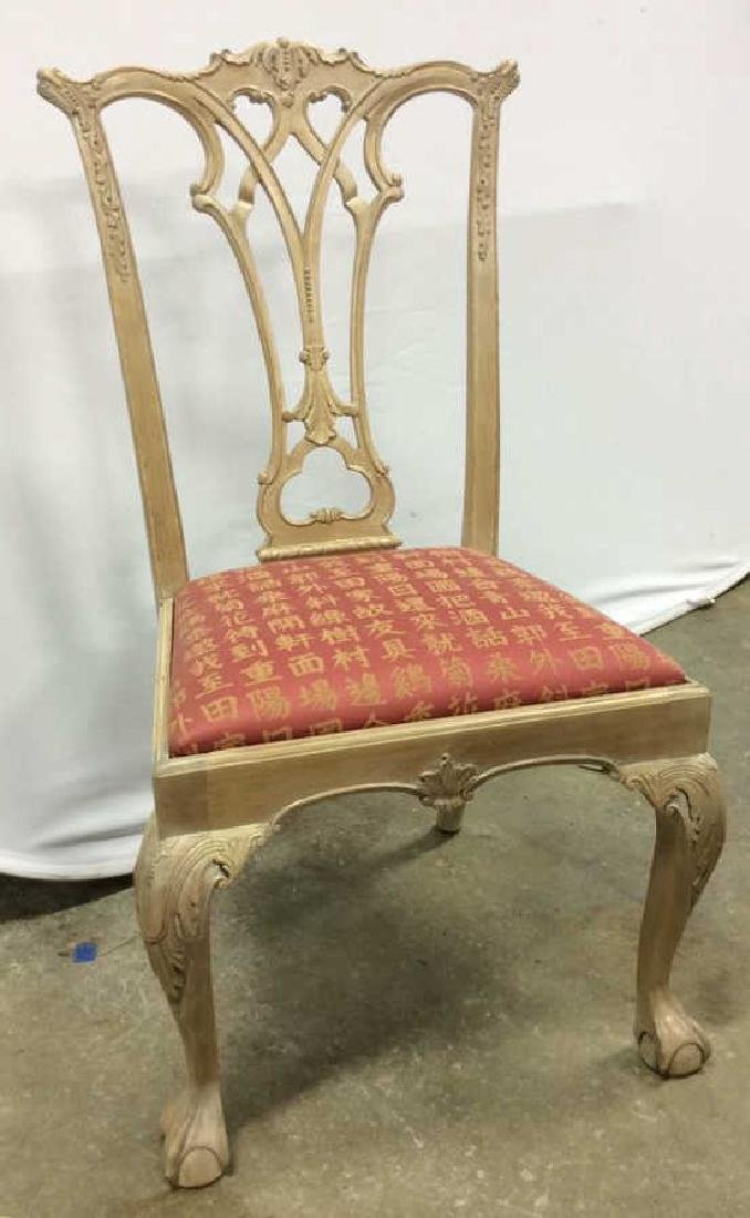 Set 8 Pickled Wood Chippendale Style Dining Chairs Set - 3
