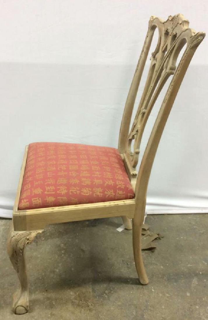 Set 8 Pickled Wood Chippendale Style Dining Chairs Set - 7