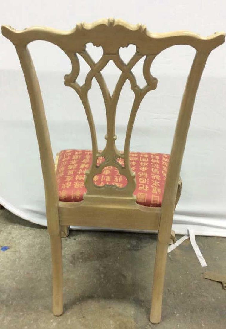 Set 8 Pickled Wood Chippendale Style Dining Chairs Set - 8