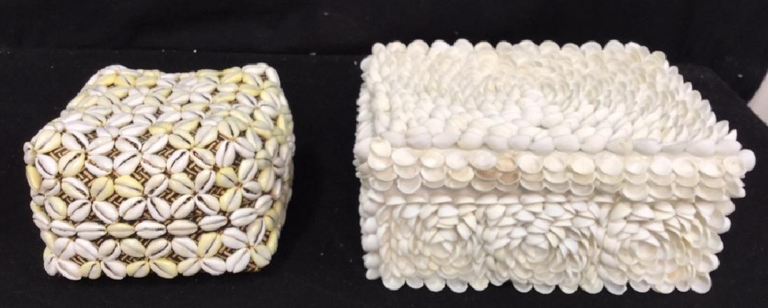 Pair Of Decorative Seashell Boxes 2 decorative boxes