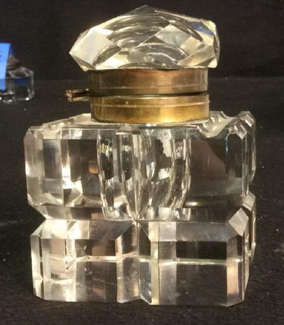 Antique Brass and Lead Crystal Cut Glass InkWell Heavy