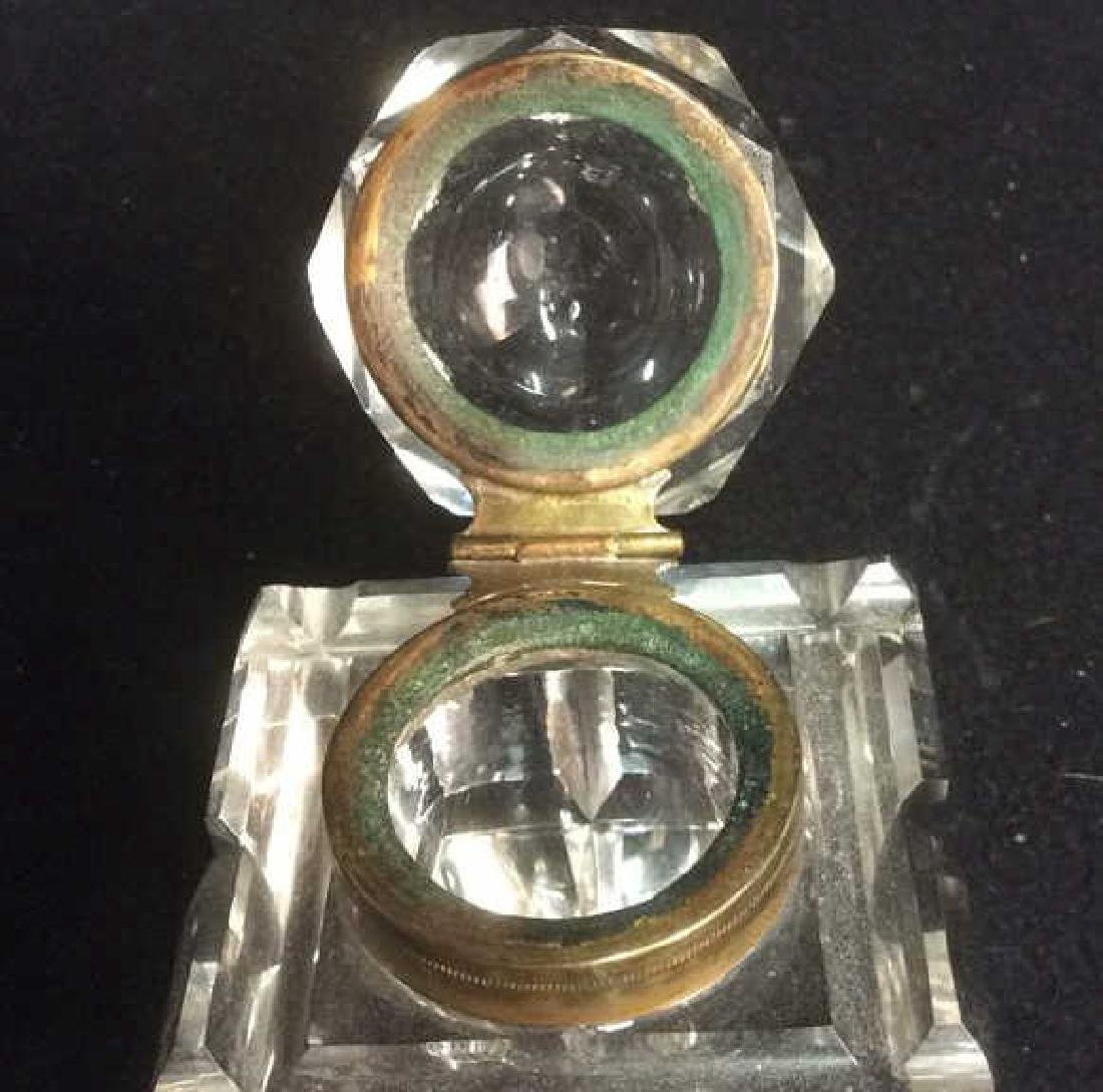 Antique Brass and Lead Crystal Cut Glass InkWell Heavy - 4