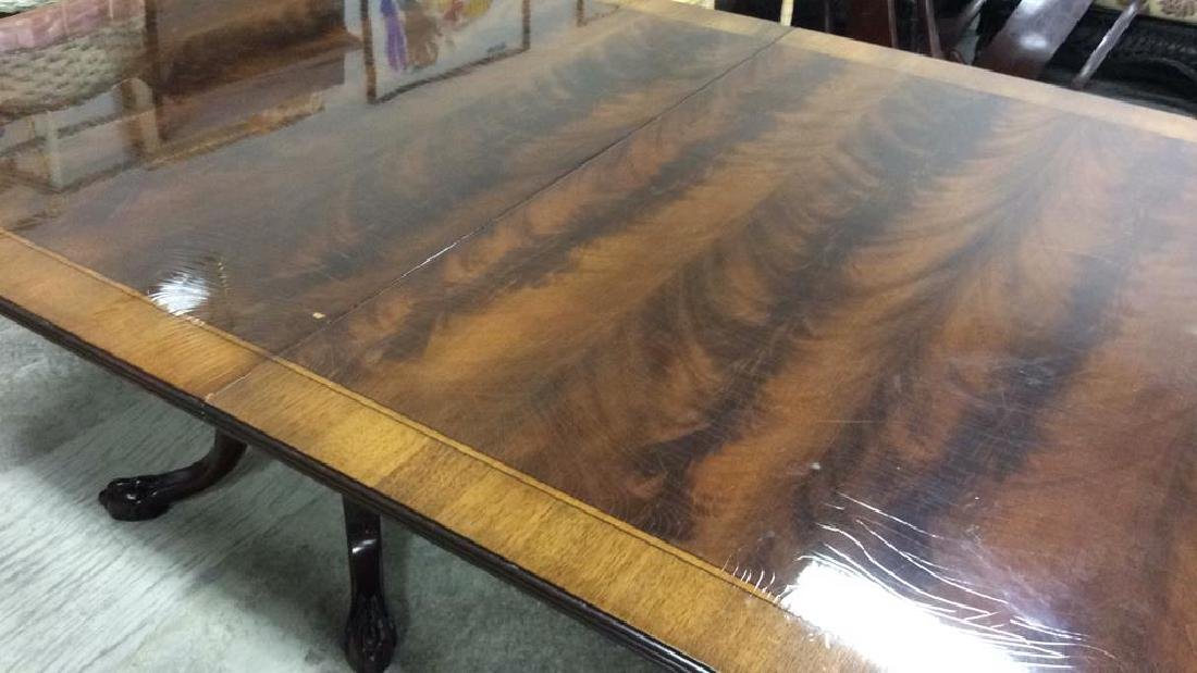 Double Pedestal Mahogany Walnut Dining Table Comes with - 10