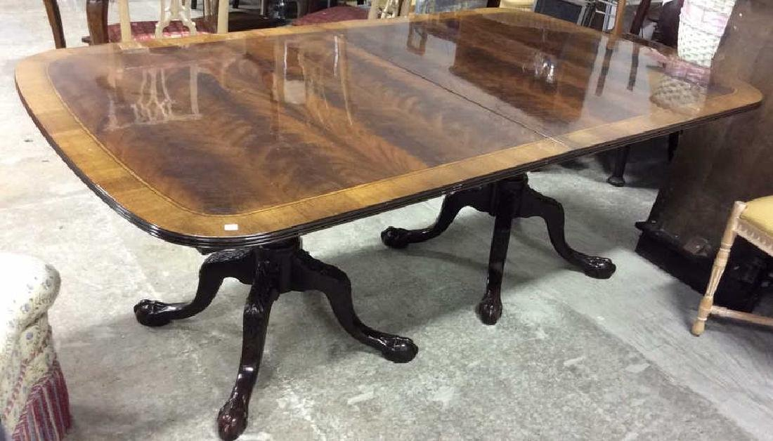 Double Pedestal Mahogany Walnut Dining Table Comes with