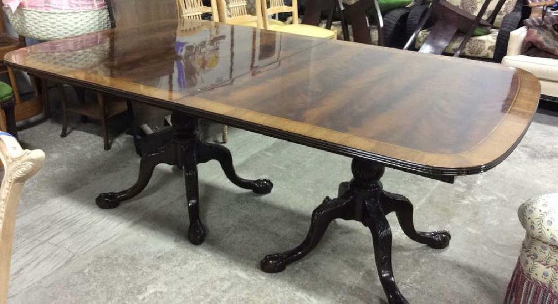 Double Pedestal Mahogany Walnut Dining Table Comes with - 8