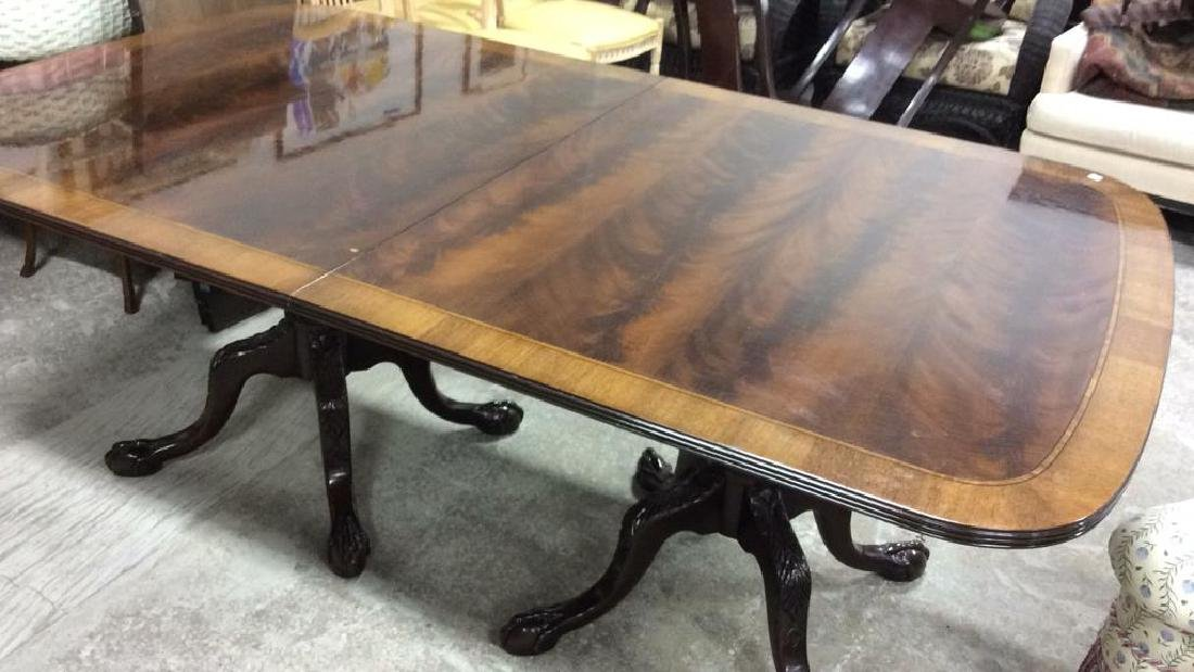 Double Pedestal Mahogany Walnut Dining Table Comes with - 9