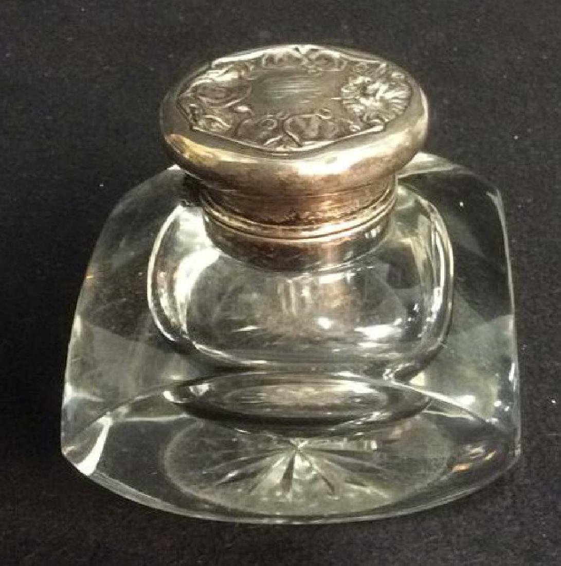 Heavy Lead Crystal and Sterling Cut Glass Inkwell