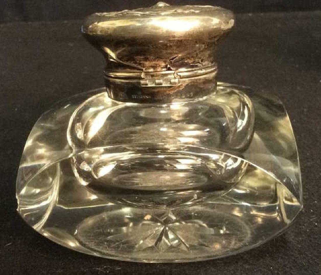 Heavy Lead Crystal and Sterling Cut Glass Inkwell - 3