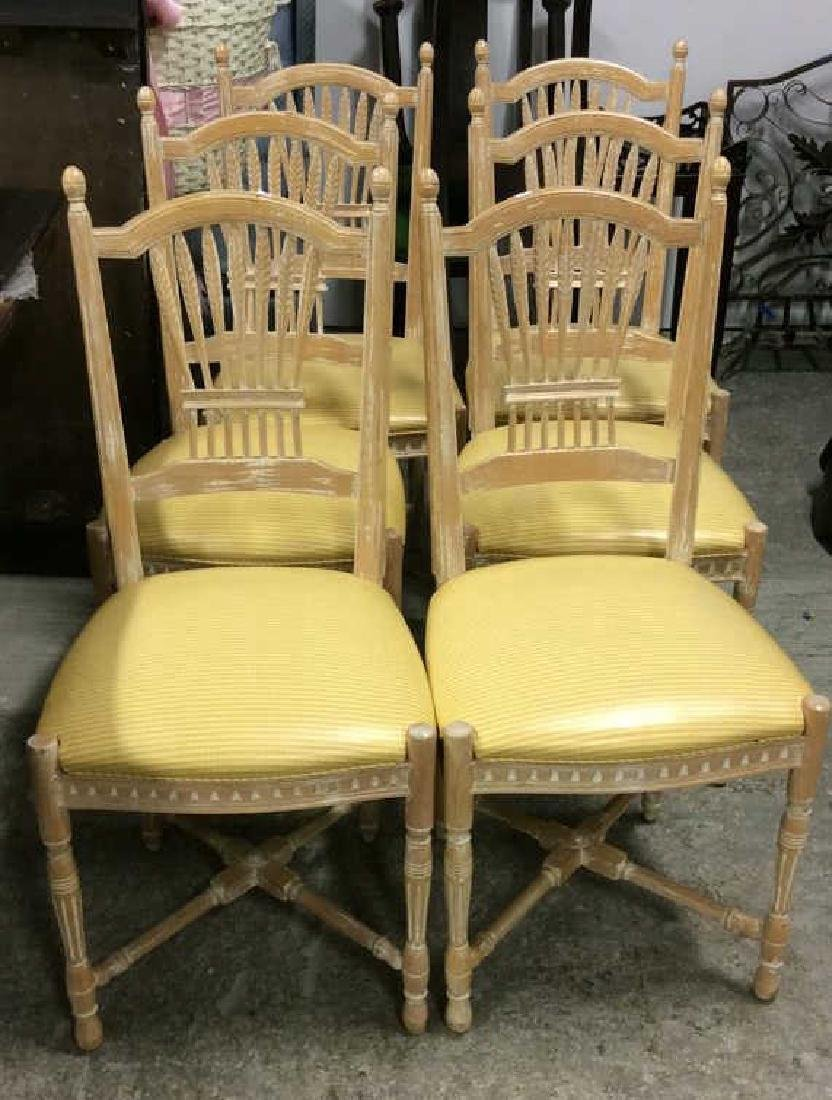 Set 6 Wheat backed pickled Oak finish Side chairs Set 6