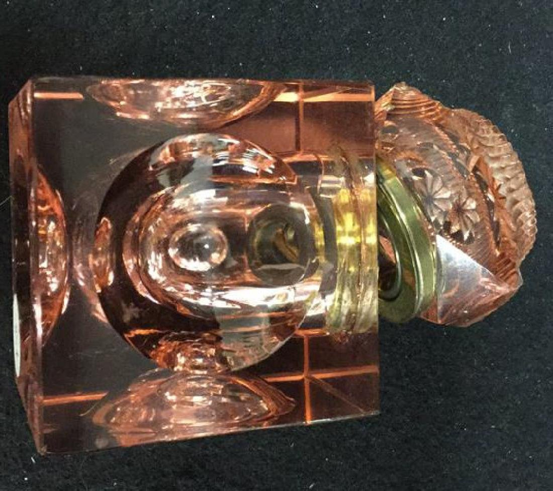 Cranberry Colored Crystal And Brass Inkwell Heavy - 4
